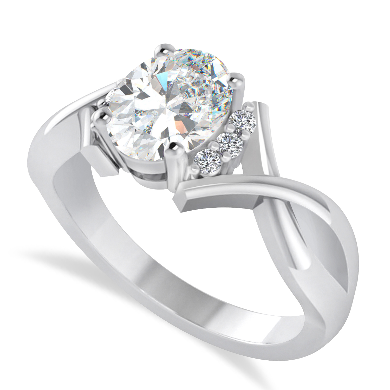 Oval Cut Diamond Engagement Ring With Split Shank 14k White Gold (1.59 ct)