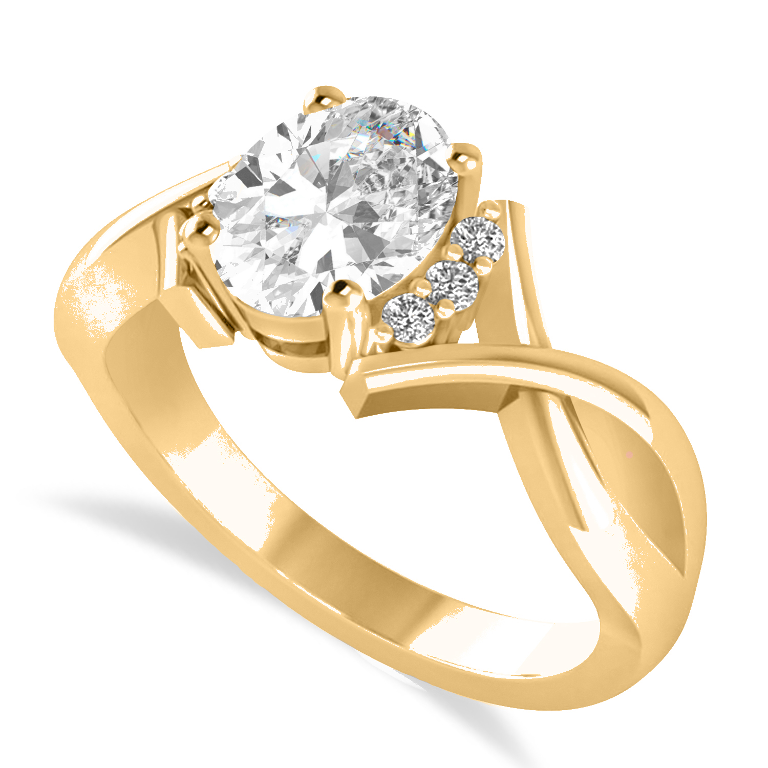 Oval Cut Diamond Engagement Ring With Split Shank 14k Yellow Gold (1.59 ct)