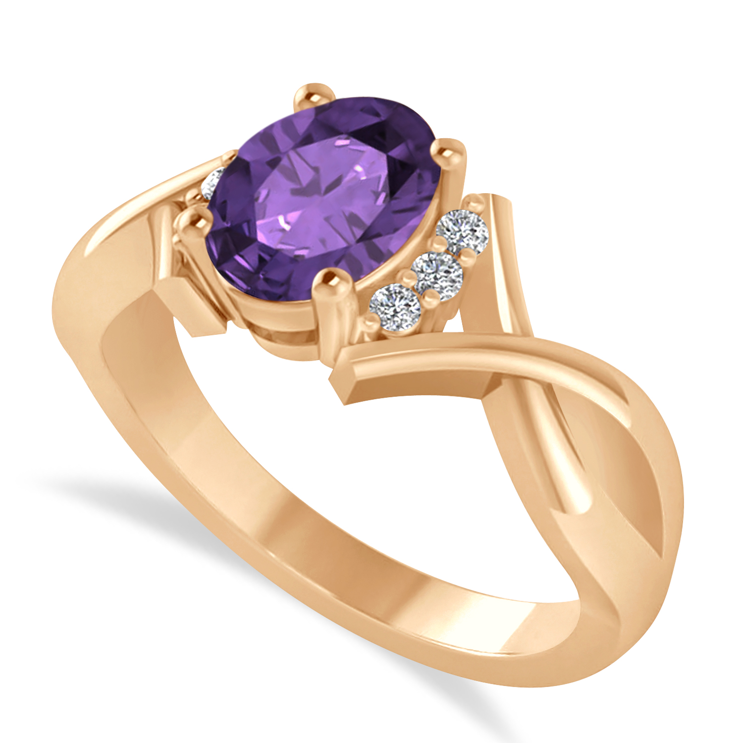 Oval Cut Amethyst & Diamond Engagement Ring With Split Shank 14k Rose Gold (1.69ct)