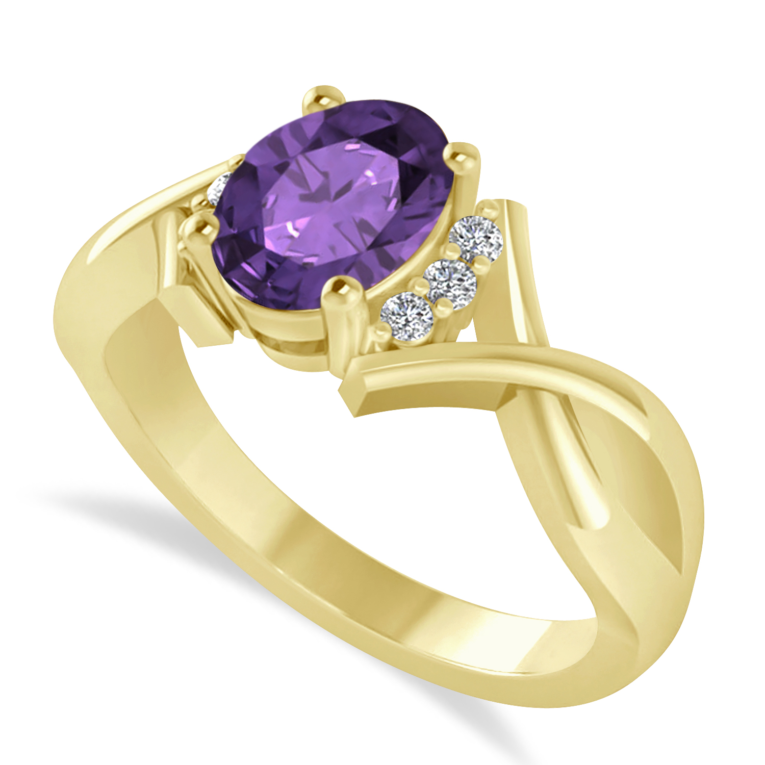 Oval Cut Amethyst & Diamond Engagement Ring With Split Shank 14k Yellow Gold (1.69ct)