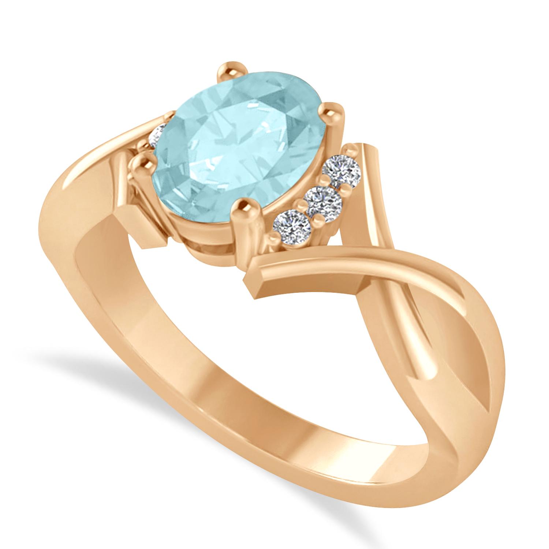 Oval Cut Aquamarine & Diamond Engagement Ring With Split Shank 14k Rose Gold (1.69ct)