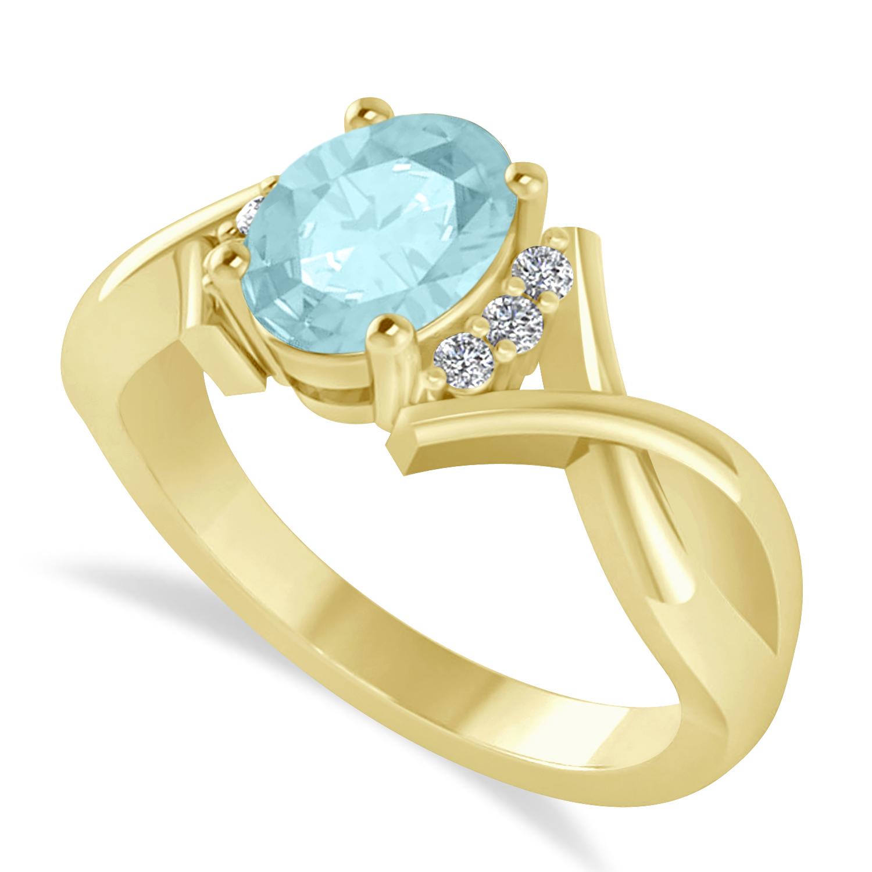 Oval Cut Aquamarine & Diamond Engagement Ring With Split Shank 14k Yellow Gold (1.69ct)