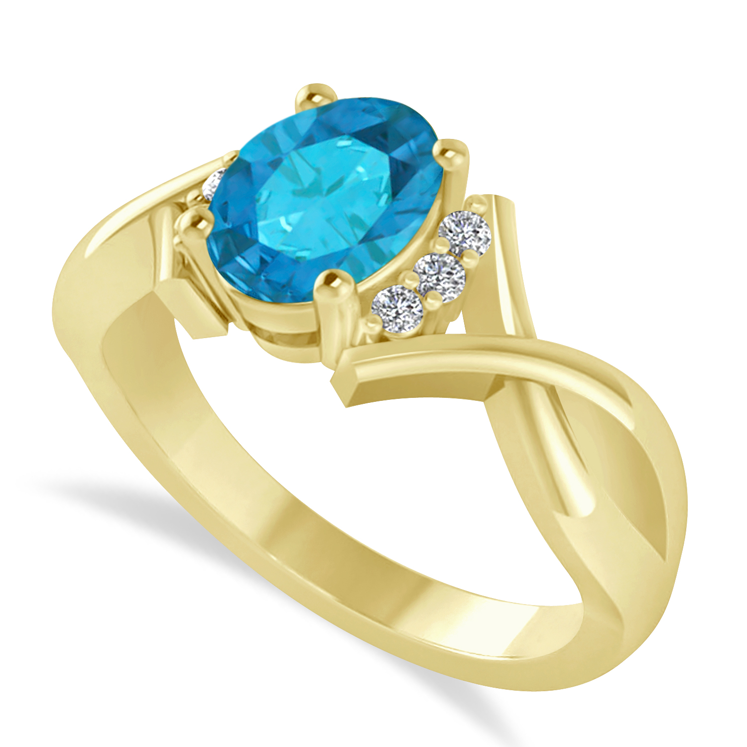 Oval Cut Blue & White Diamond Engagement Ring With Split Shank 14k Yellow Gold (1.59 ct)