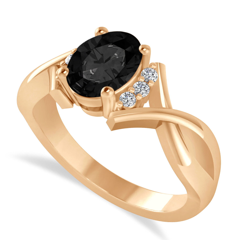 Oval Cut Black & White Diamond Engagement Ring With Split Shank 14k Rose Gold (1.59 ct)