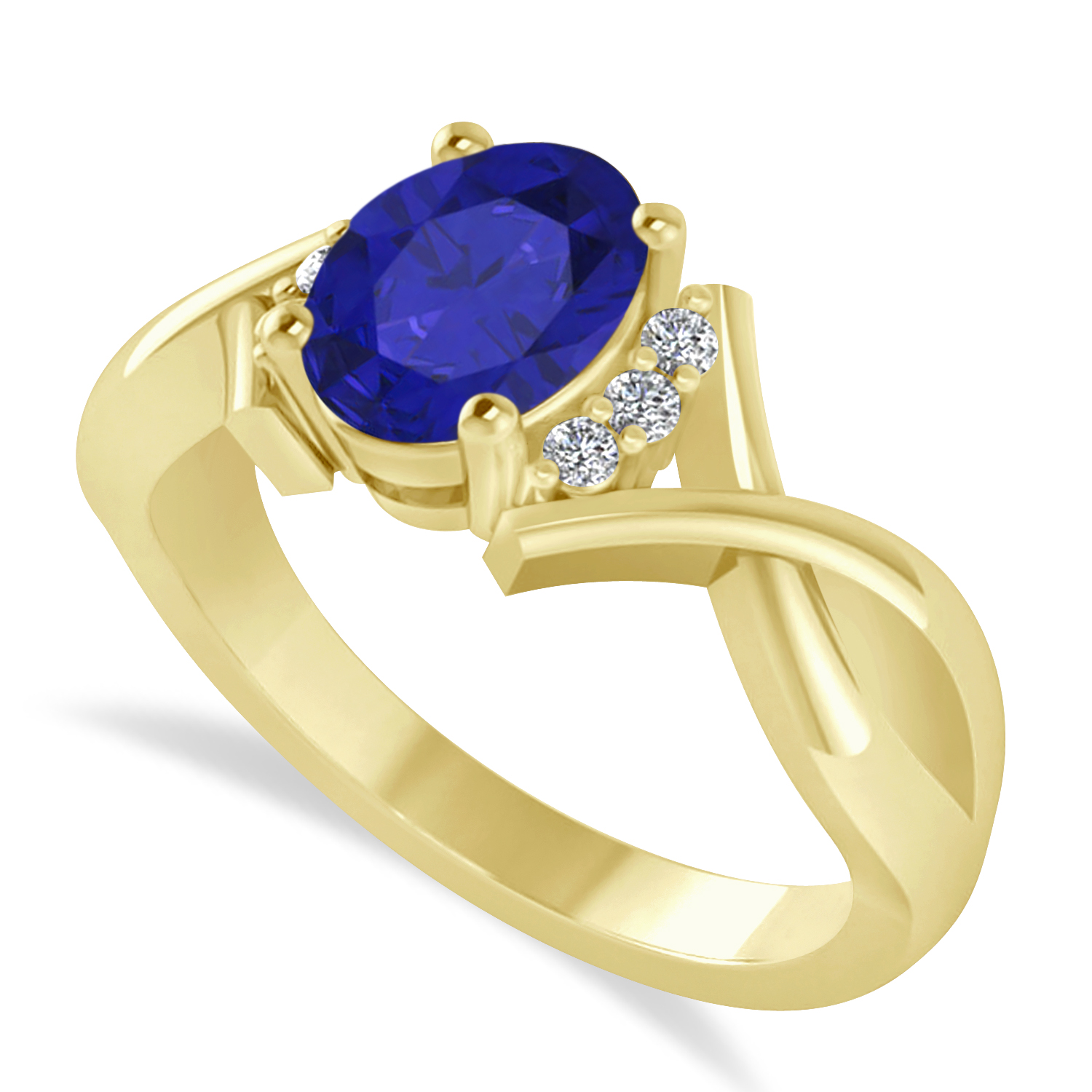 Oval Cut Blue Sapphire & Diamond Engagement Ring With Split Shank 14k Yellow Gold (1.69ct)