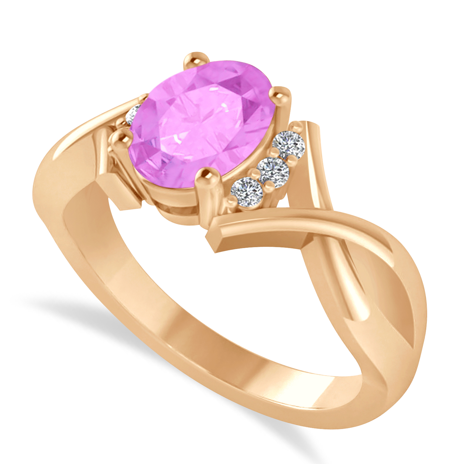 Oval Cut Pink Sapphire & Diamond Engagement Ring With Split Shank 14k Rose Gold (1.69ct)