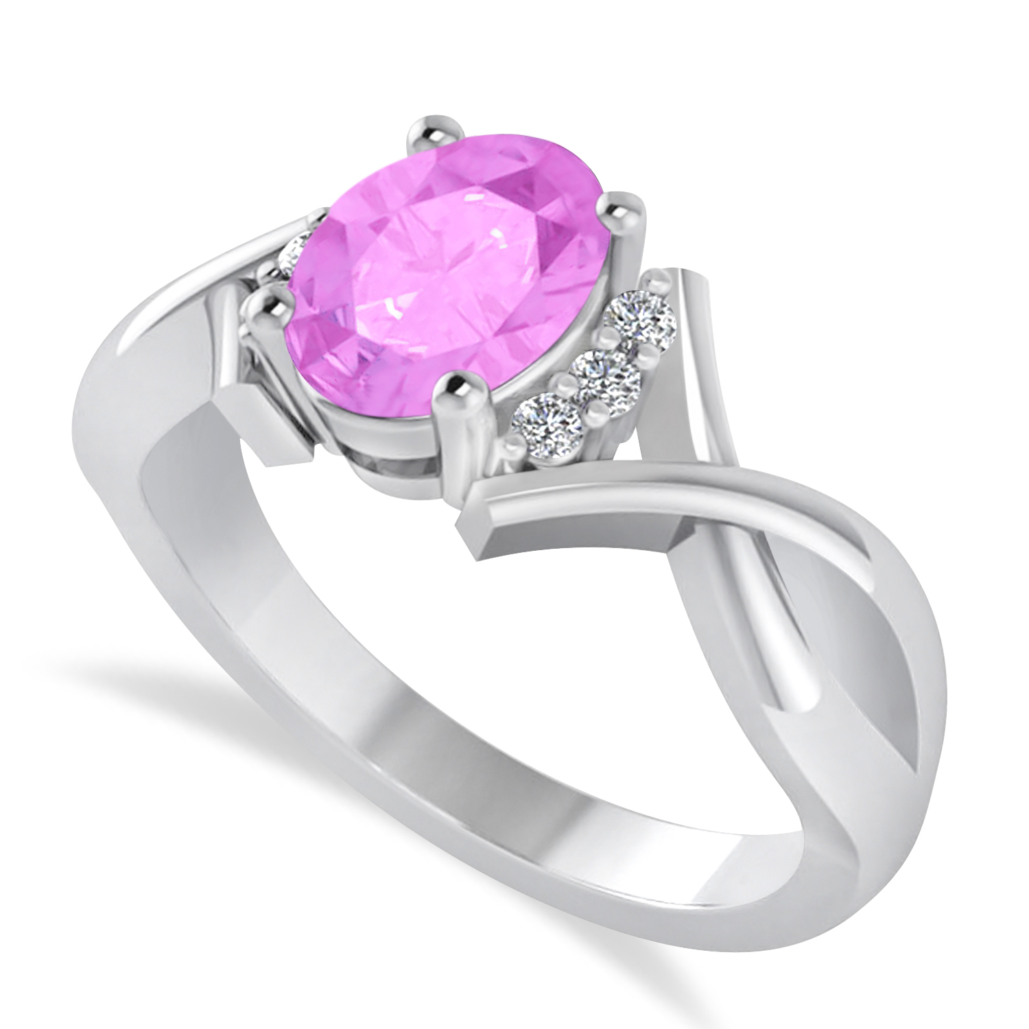 Oval Cut Pink Sapphire & Diamond Engagement Ring With Split Shank 14k White Gold (1.69ct)