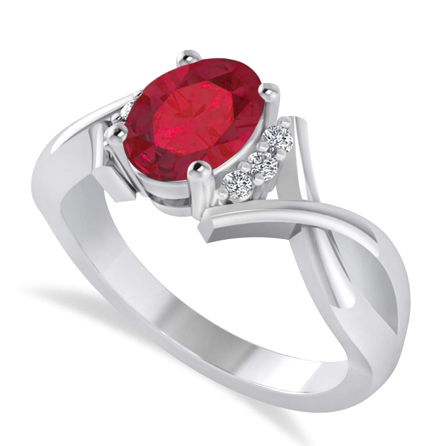 Oval Cut Ruby & Diamond Engagement Ring With Split Shank 14k White Gold (1.69ct)