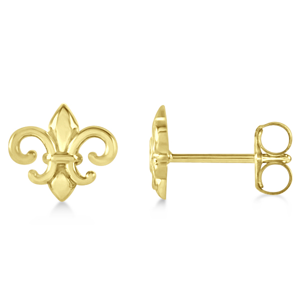 Fleur De Lis Stud Earrings in Plain Metal 14k Yellow Gold