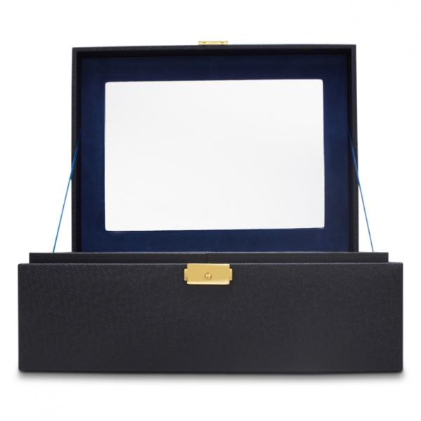 WOLF Brighton Women's Large Faux Leather Jewelry Box w/ Mirror Lock 2 Lift-Out Trays