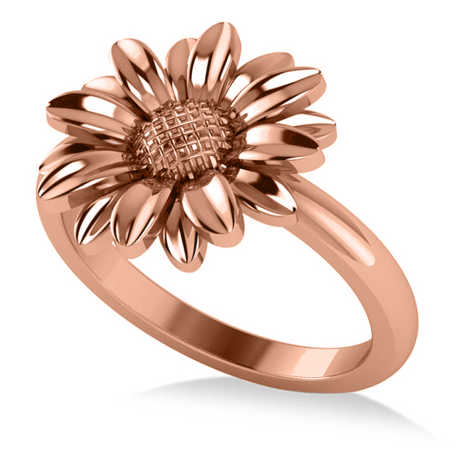 Multilayered Daisy Flower Fashion Ring 14k Rose Gold