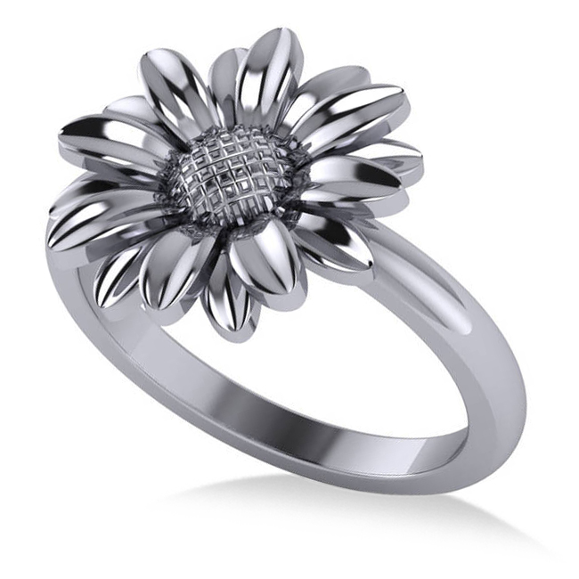 Multilayered Daisy Flower Fashion Ring 14k White Gold