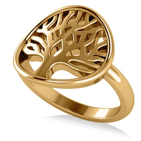Family Tree of Life Fashion Ring 14k Yellow Gold