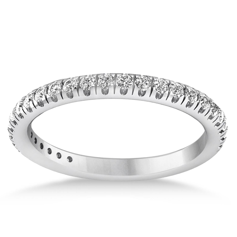 Diamond Semi-Eternity Ring Wedding Band 14k White Gold (0.41ct)