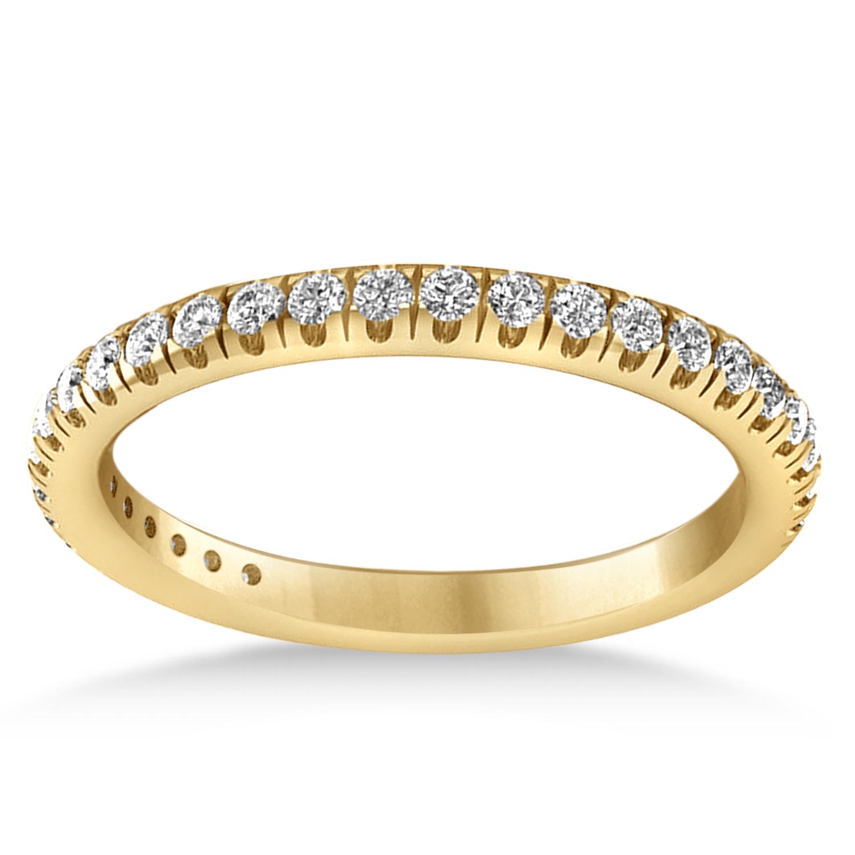 Diamond Semi-Eternity Ring Wedding Band 18k Yellow Gold (0.41ct)