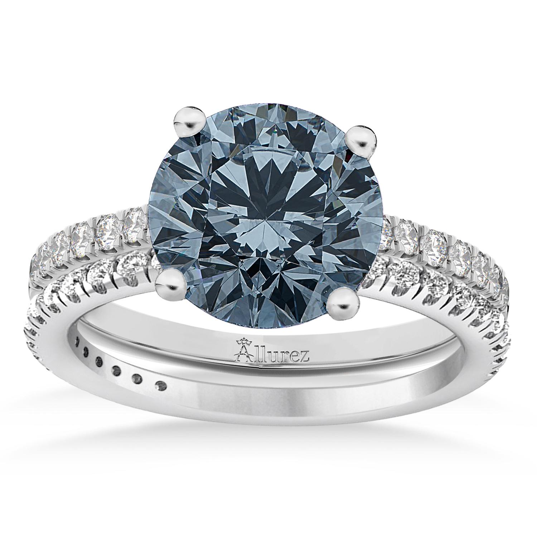 Gray Spinel & Diamond Round-Set Semi-Eternity Bridal Set Palladium (2.42ct)