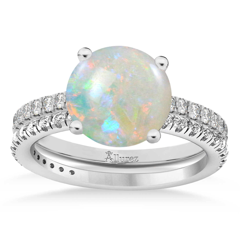 Opal & Diamond Round-Set Semi-Eternity Bridal Set Palladium (1.92ct)