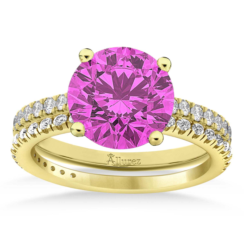 Pink Sapphire & Diamond Round-Set Semi-Eternity Bridal Set 18k Yellow Gold (2.92ct)