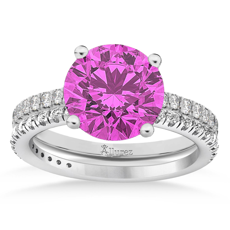 Pink Sapphire & Diamond Round-Set Semi-Eternity Bridal Set Platinum (2.92ct)