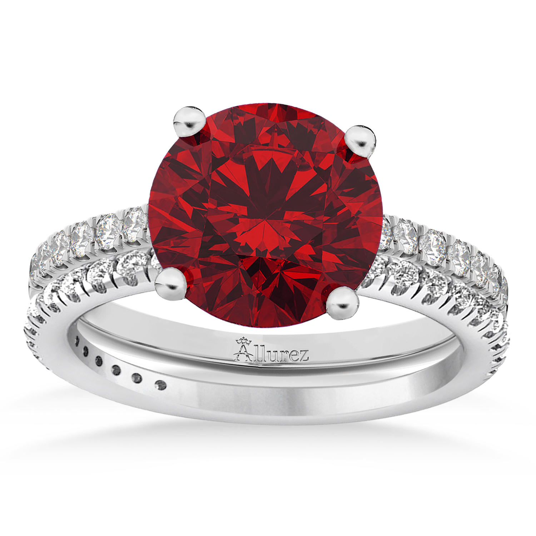 Ruby & Diamond Round-Set Semi-Eternity Bridal Set Platinum (2.92ct)