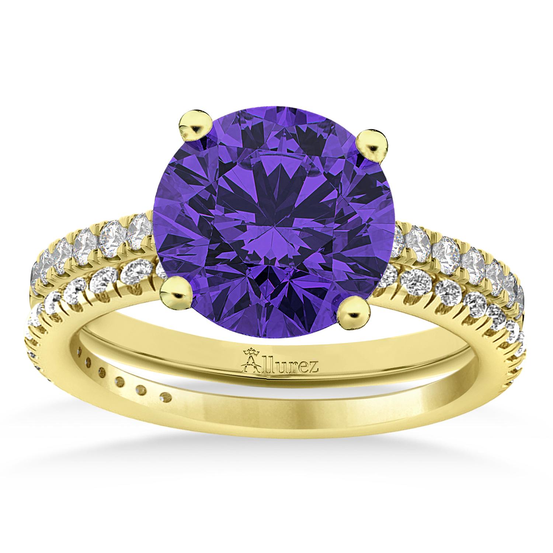 Tanzanite & Diamond Round-Set Semi-Eternity Bridal Set 18k Yellow Gold (2.92ct)