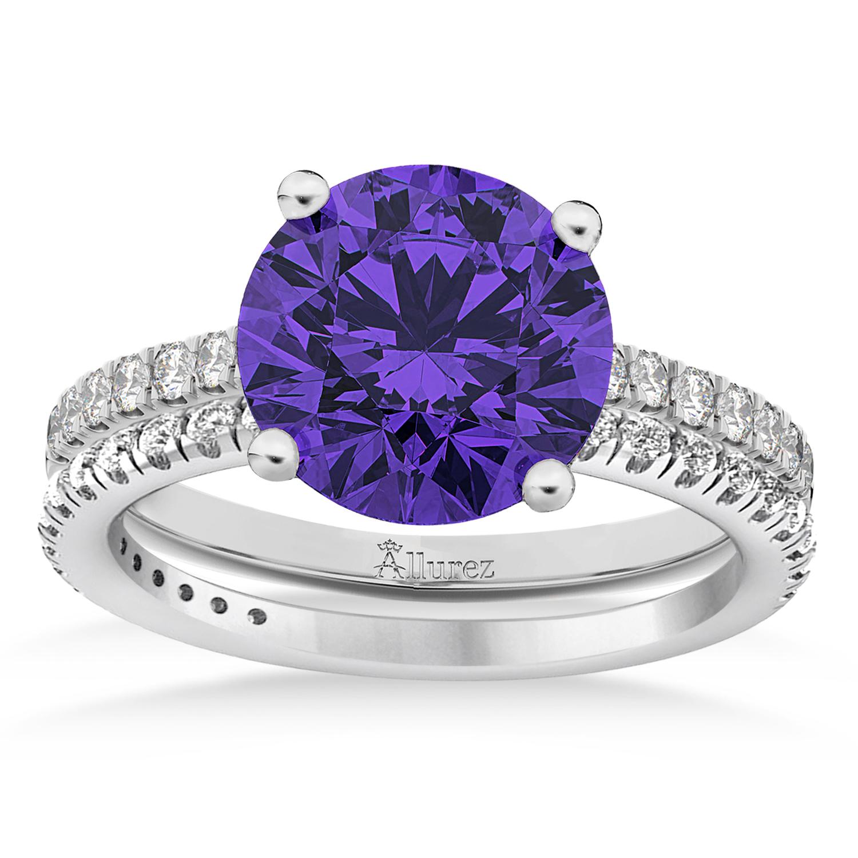 Tanzanite & Diamond Round-Set Semi-Eternity Bridal Set Platinum (2.92ct)