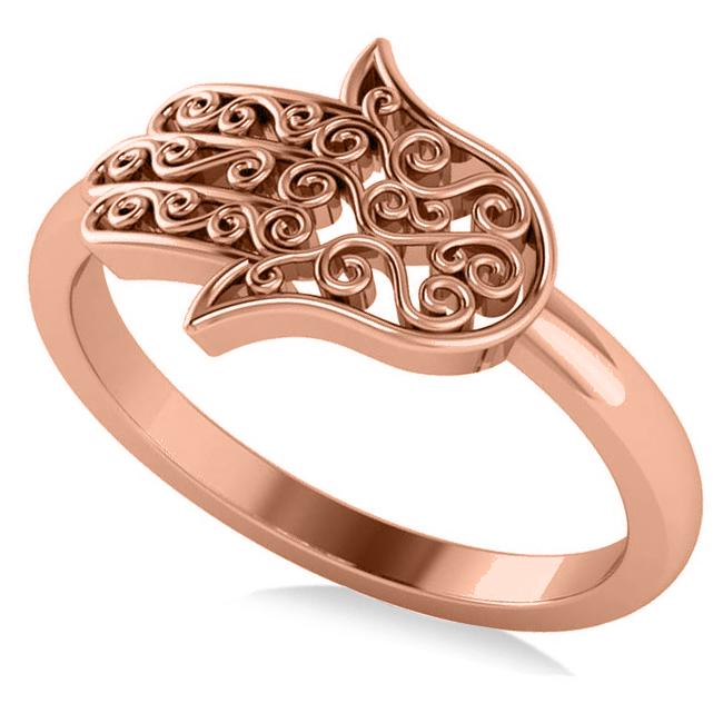 Hand of God Hamsa Swirl Design Spiritual Fashion Ring 14k Rose Gold