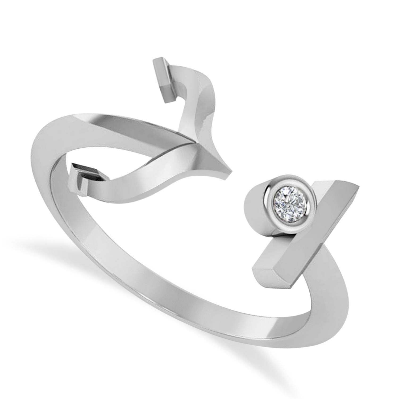 Elegant Nautical Anchor Center Ring Solitaire Diamond 14k White Gold