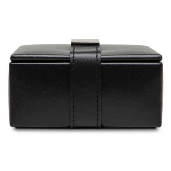 Men's Black Faux Leather Travel Jewelry Organizer with 4 Compartments