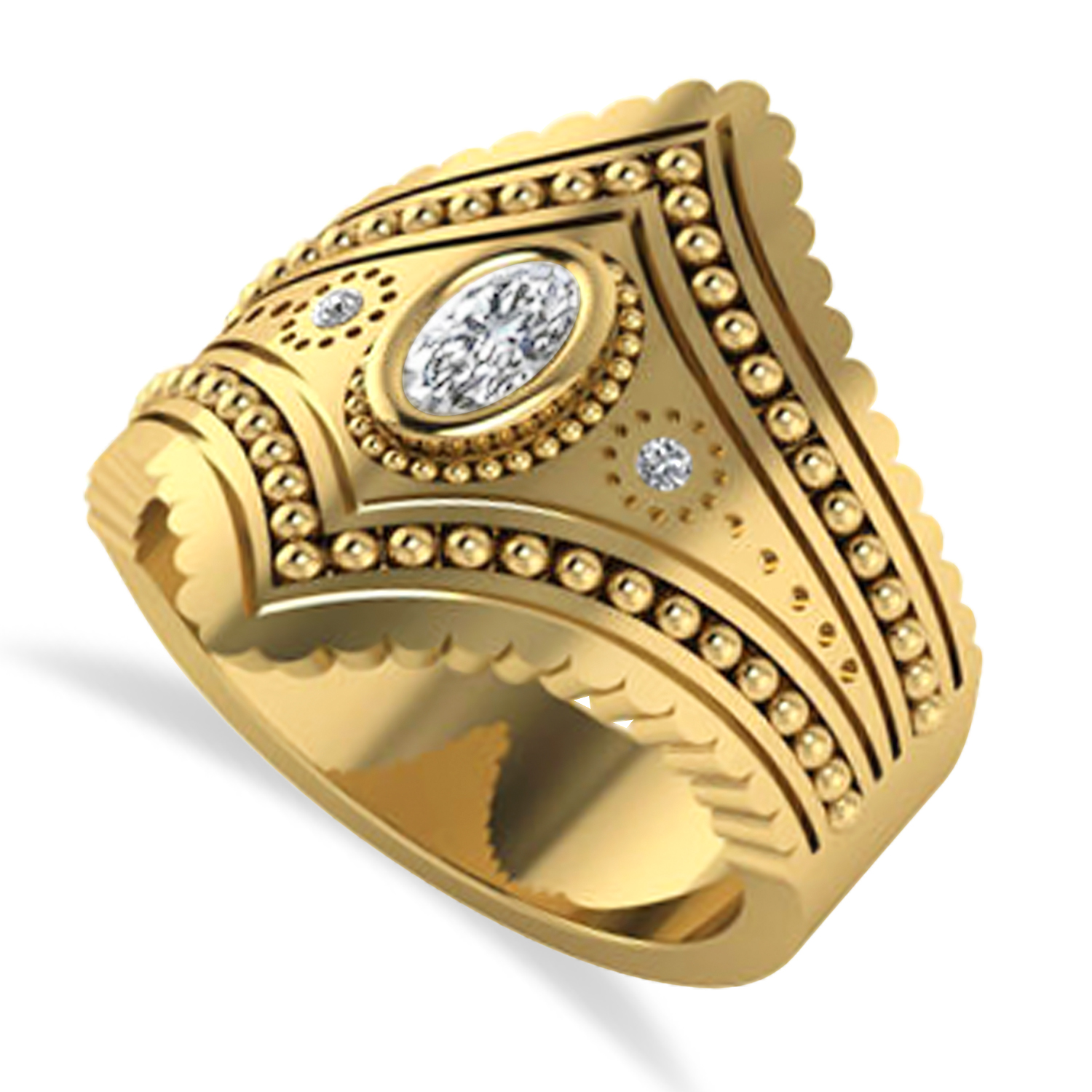 Ladies Oval Diamond Antique Style Cigar Ring 14k Yellow Gold (0.27 ctw)