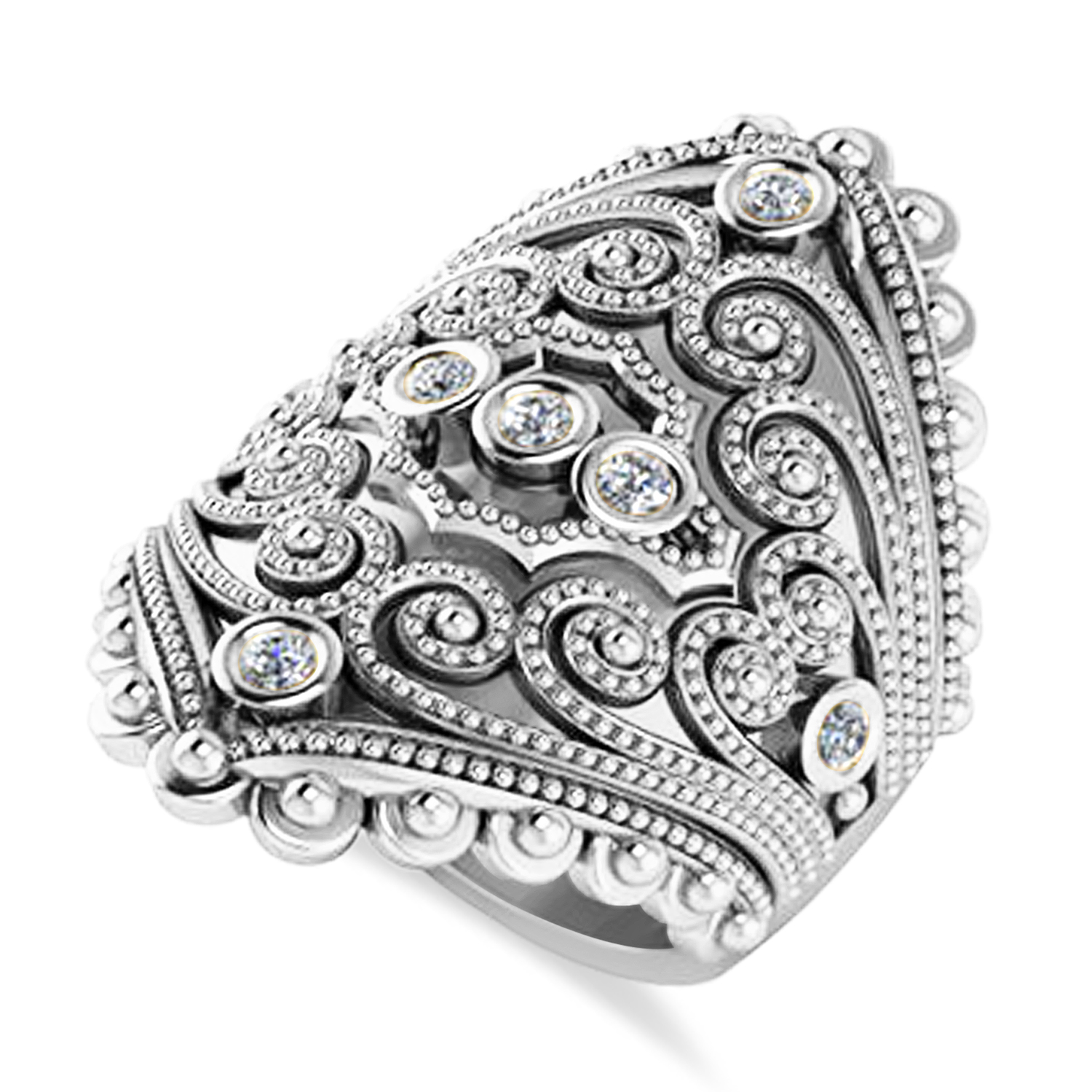 Ladies Diamond Antique Style Cigar Ring 14k White Gold (0.21 ctw)