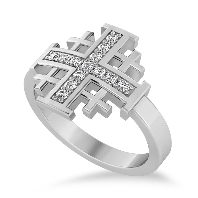 Jerusalem Cross Diamond Accented Ladies Ring 14k White Gold (0.20ct)