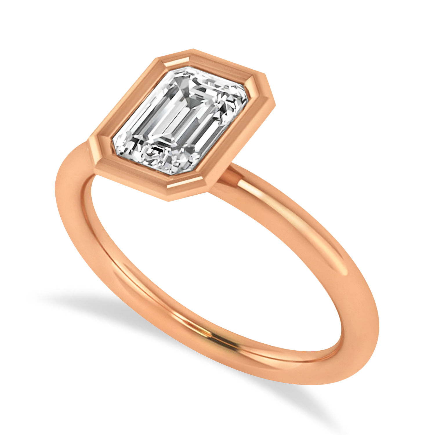 Emerald-Cut Bezel-Set Diamond Solitaire Ring 14k Rose Gold (1.00 ctw)