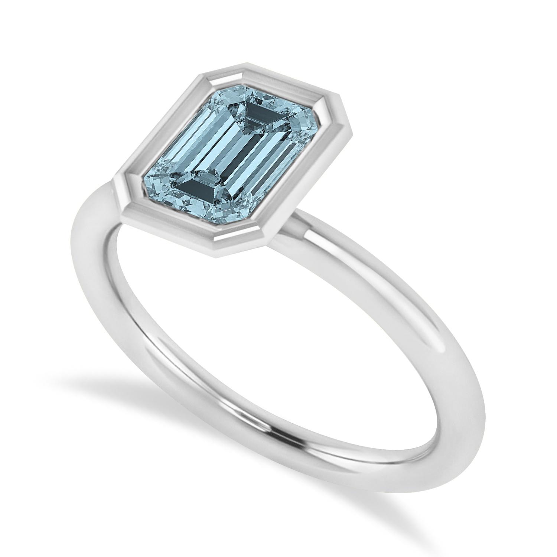 Emerald-Cut Bezel-Set Aquamarine Solitaire Ring 14k White Gold (1.00 ctw)
