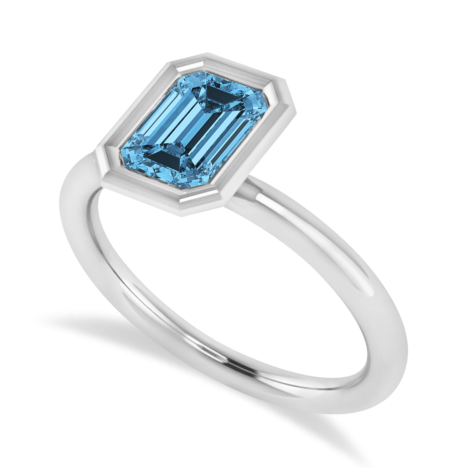 Emerald-Cut Bezel-Set Blue Topaz Solitaire Ring 14k White Gold (1.00 ctw)
