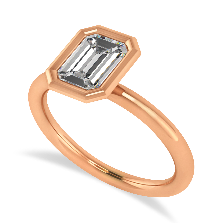 Emerald-Cut Bezel-Set Moissanite Solitaire Ring 14k Rose Gold (1.00 ctw)