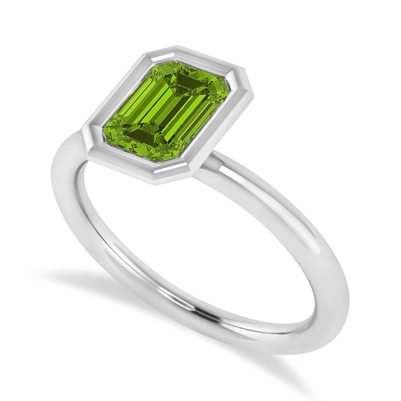 Emerald-Cut Bezel-Set Peridot Solitaire Ring 14k White Gold (1.00 ctw)