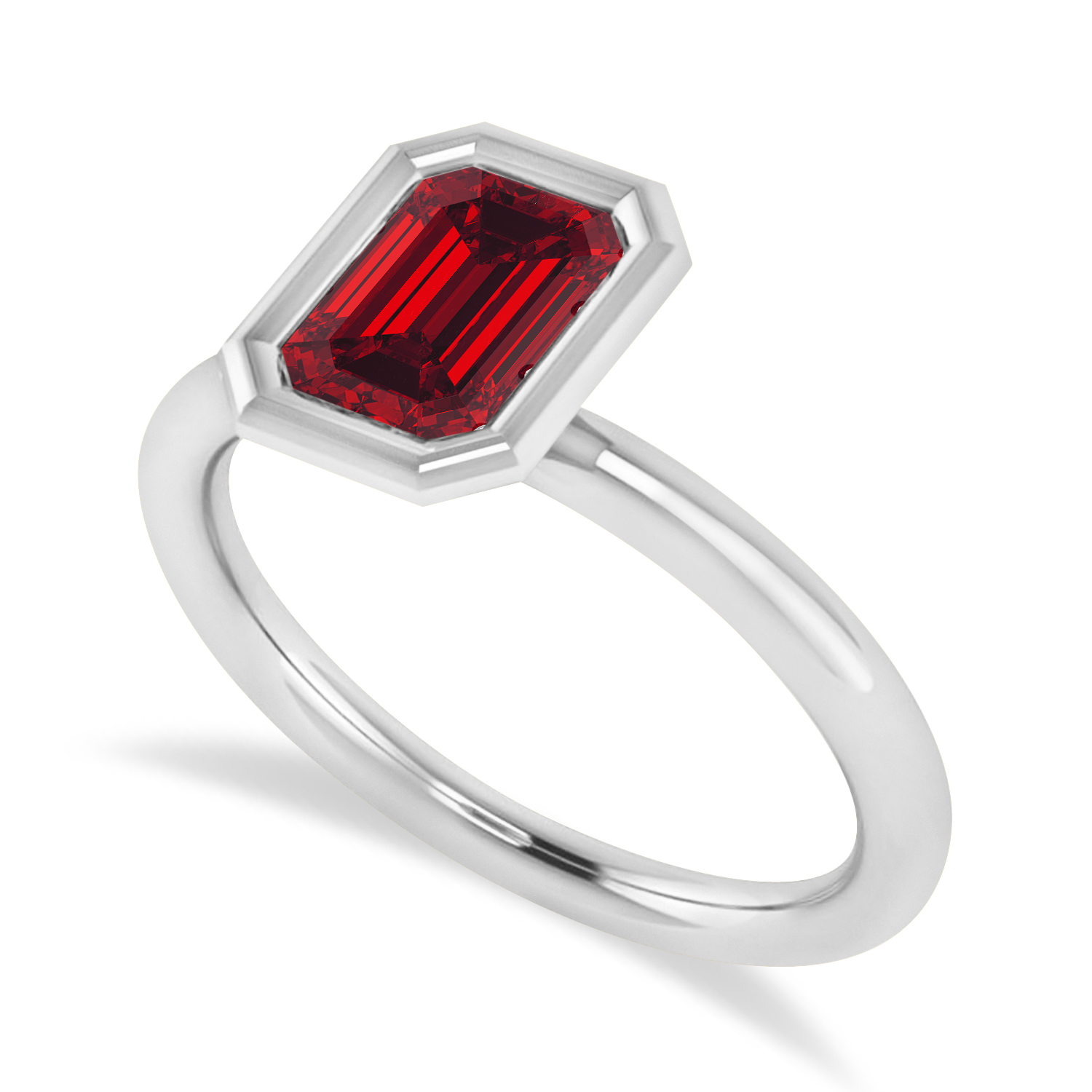 Emerald-Cut Bezel-Set Ruby Solitaire Ring 14k White Gold (1.00 ctw)