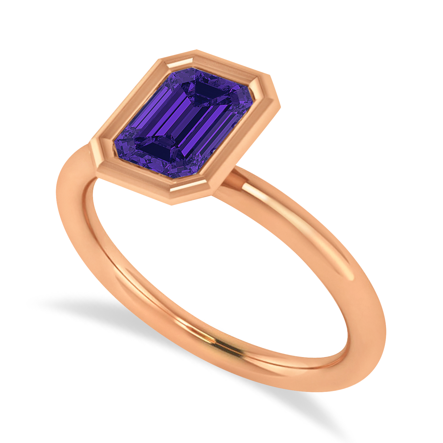 Emerald-Cut Bezel-Set Tanzanite Solitaire Ring 14k Rose Gold (1.00 ctw)