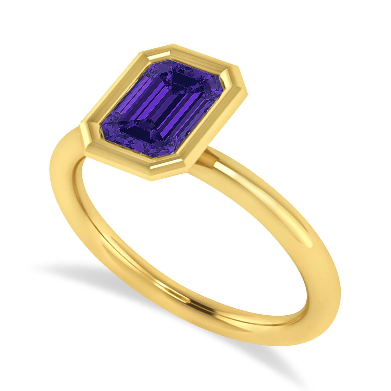 Emerald-Cut Bezel-Set Tanzanite Solitaire Ring 14k Yellow Gold (1.00 ctw)