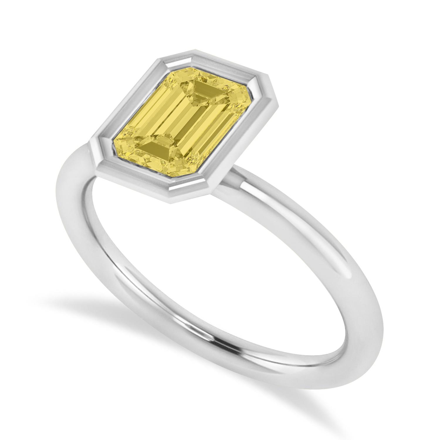 Emerald-Cut Bezel-Set Yellow Diamond Solitaire Ring 14k White Gold (1.00 ctw)