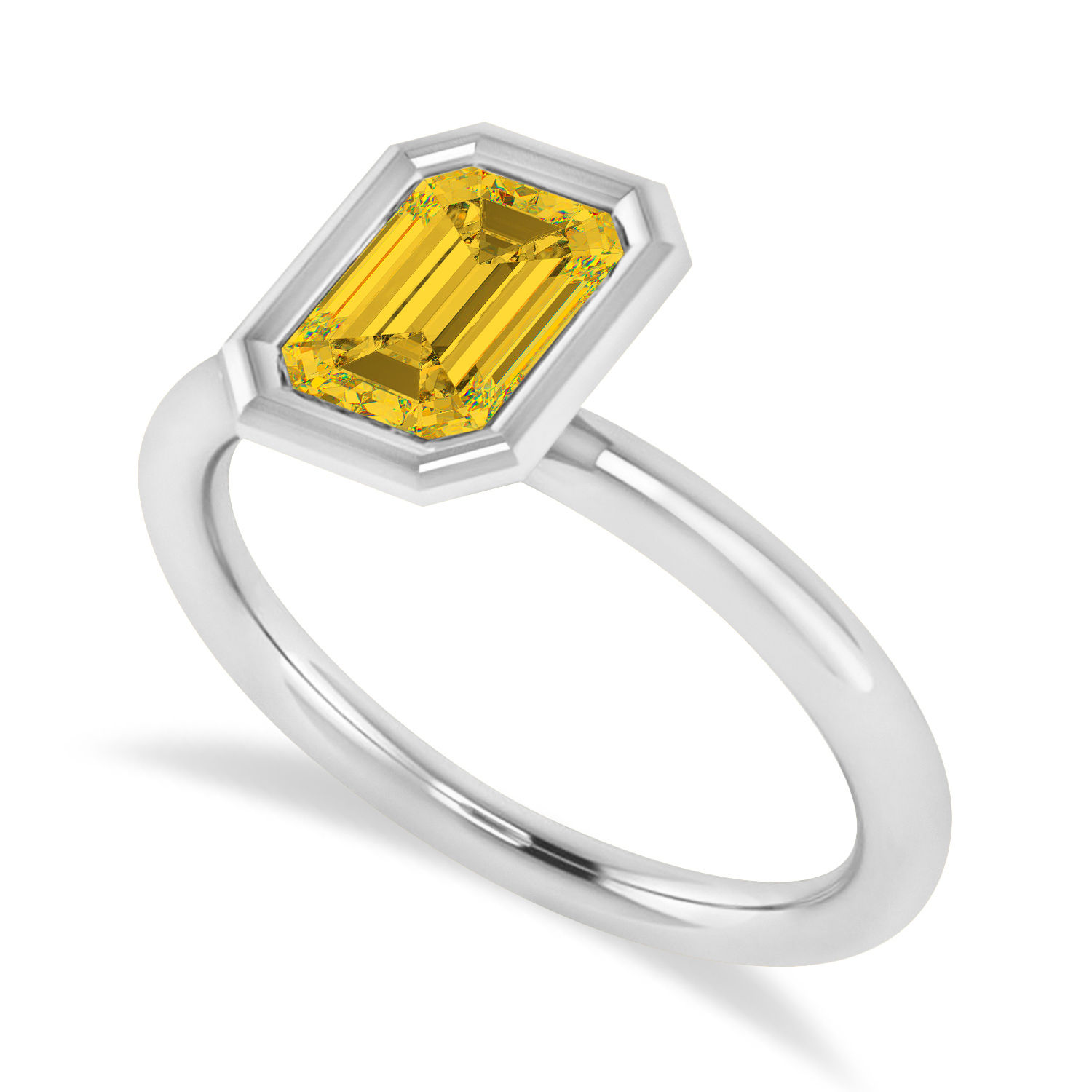 Emerald-Cut Bezel-Set Yellow Sapphire Solitaire Ring 14k White Gold (1.00 ctw)