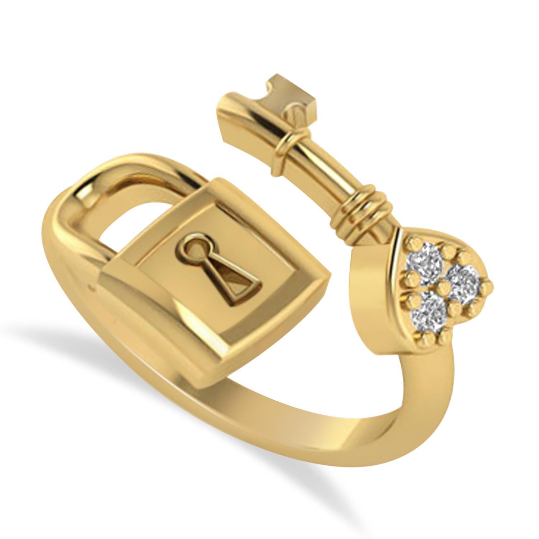 Diamond Key And Lock Ring Band 14k Yellow Gold (0.09ct)