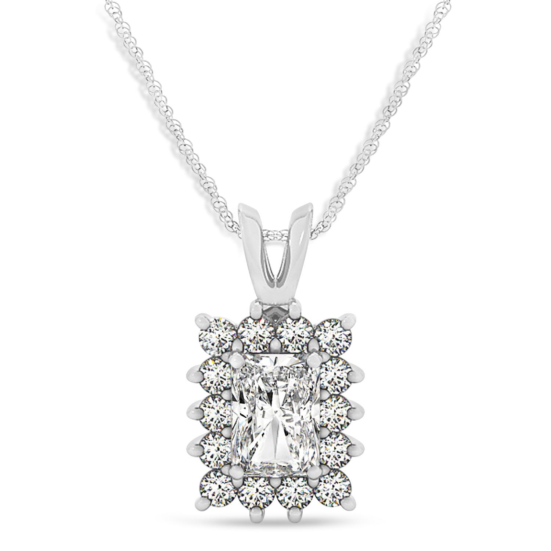 Emerald Shape Diamond Pendant Necklace 14k White Gold (3.00ct)