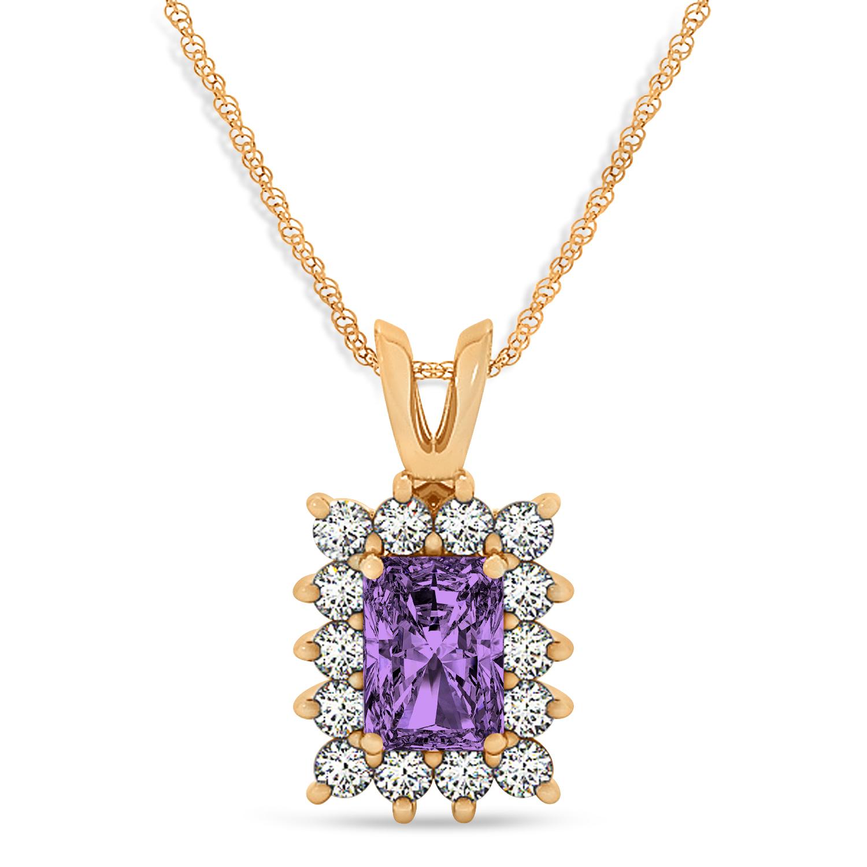 Emerald Shape Amethyst & Diamond Pendant Necklace 14k Rose Gold (2.75ct)
