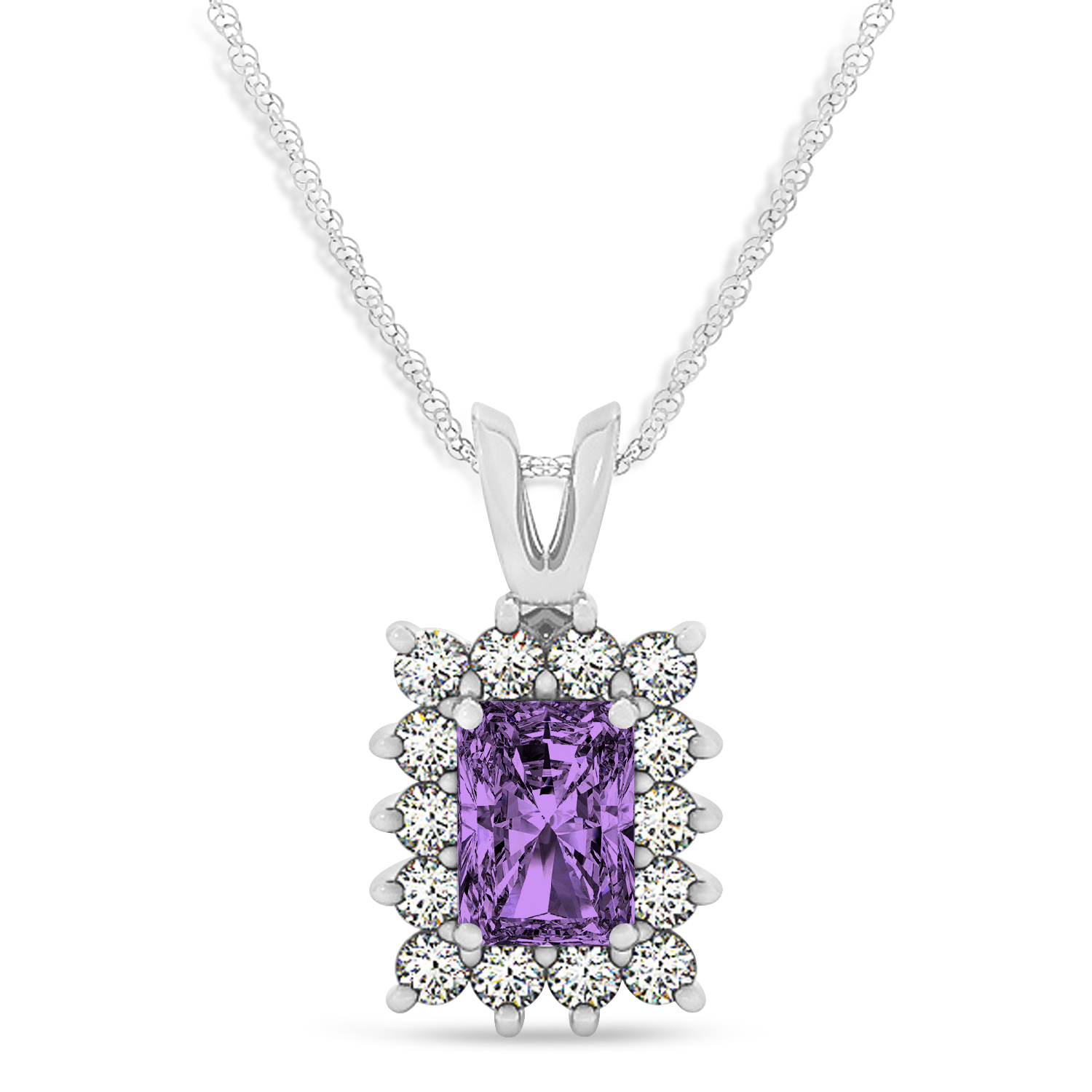 Emerald Shape Amethyst & Diamond Pendant Necklace 14k White Gold (2.75ct)