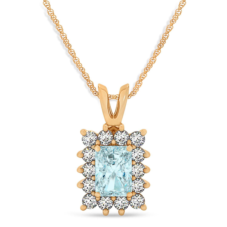 Emerald Shape Aquamarine & Diamond Pendant Necklace 14k Rose Gold (2.50ct)