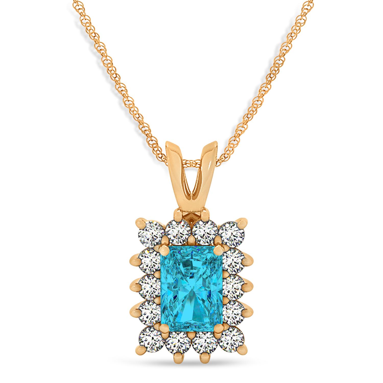 Emerald Shape Blue Diamond & Diamond Pendant Necklace 14k Rose Gold (3.00ct)