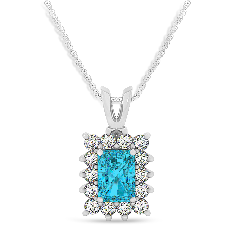 Emerald Shape Blue Diamond & Diamond Pendant Necklace 14k White Gold (3.00ct)