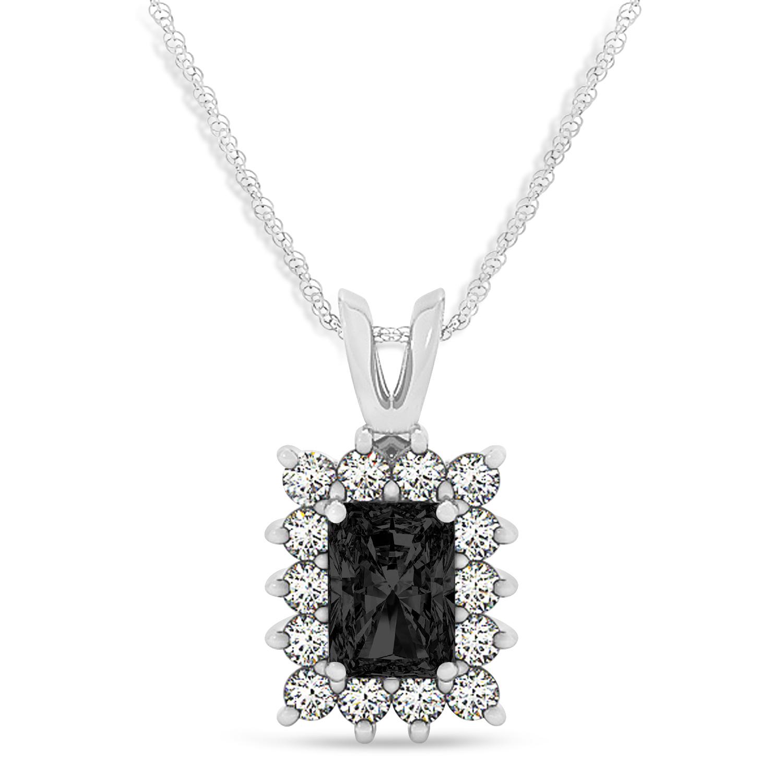 Emerald Shape Black Diamond & Diamond Pendant Necklace 14k White Gold (3.00ct)